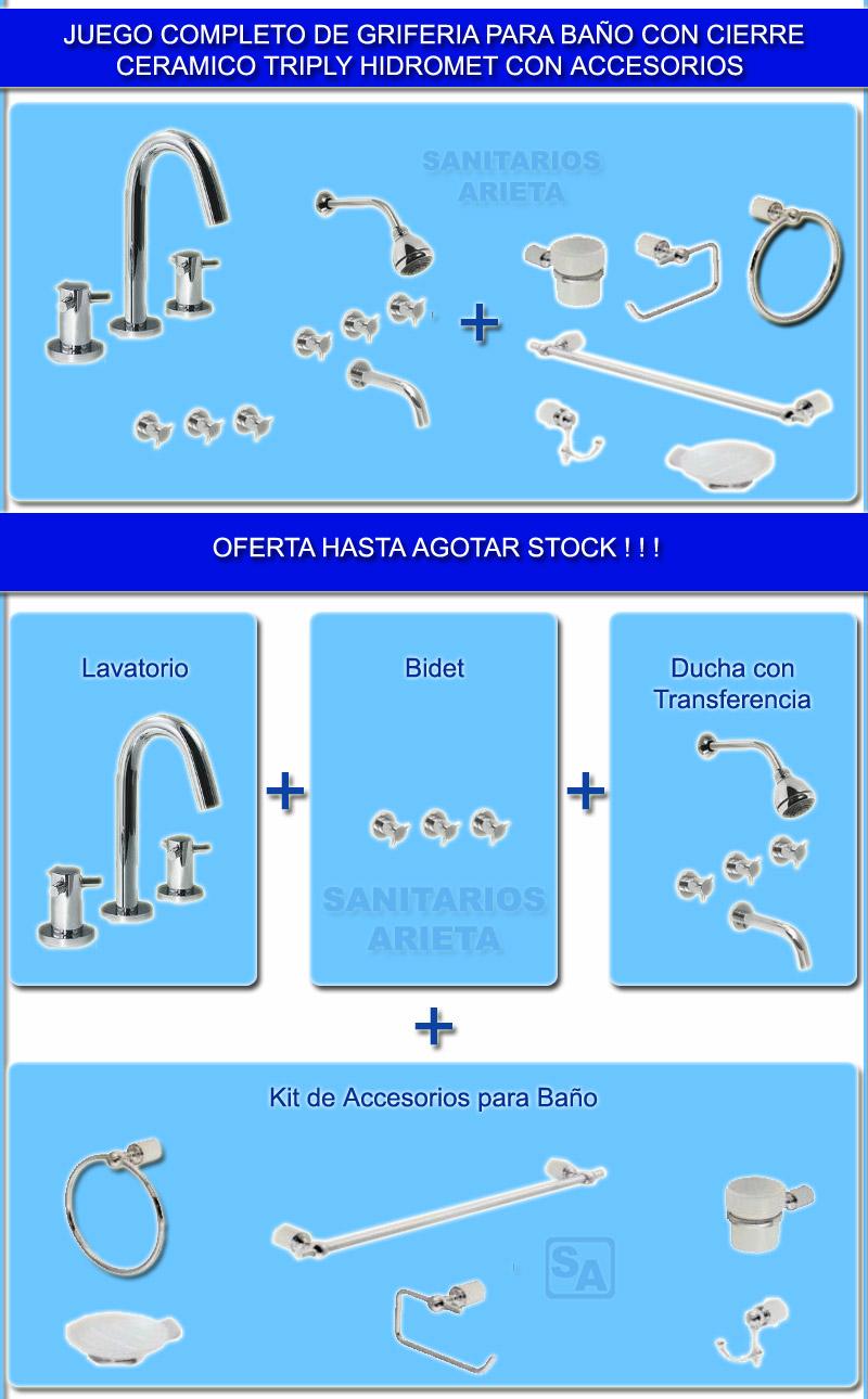 Kit Griferia Para Baño:Griferia Baño Cierre Ceramico Triply Hidromet Con Accesorios (Sets